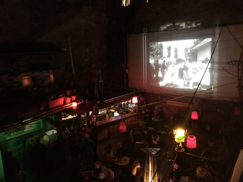 Old movies in the courtyard